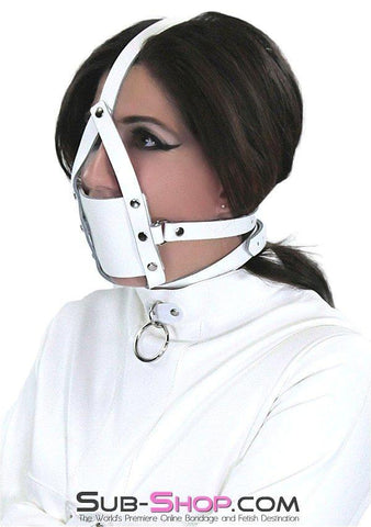 436A     Silencer White Leather Cross Strap Panel Ball Gag Trainer - Sub-Shop Bondage and Fetish Superstore