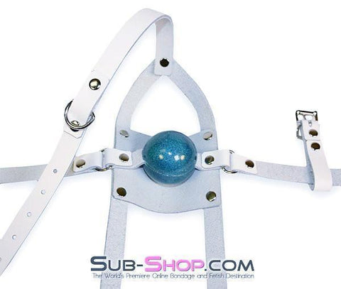 436A     Silencer White Leather Cross Strap Panel Ball Gag Trainer - Sub-Shop.comGags - 6