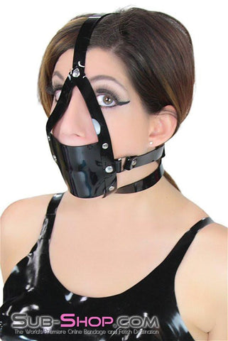 439A     Black Luxe PVC Cross Strap Panel Ball Gag Trainer