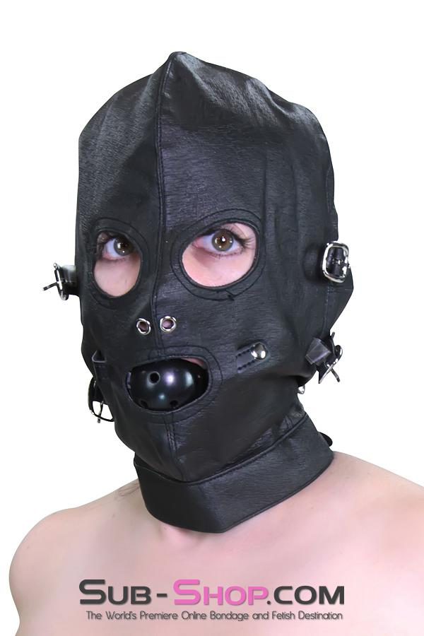 4417HS      Full Bondage Hood with Buckling Blindfold and Gag - <b>MEGA Deal</b> - Sale BDSM, Bondage Gear, Adult Toys, Bondage Sex, Orgasm Belt, Male Chastity, Gags. Bondage Slave Collars, Wrist Cuffs, Submissive, Dominant, Master, Mistress, Crossdresser, Sub-Shop Bondage and Fetish Superstore
