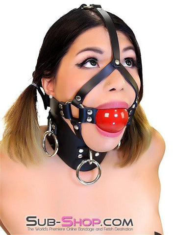 "450A    2"" Leather Ball Gag Trainer, Candy Apple Red Ball - Sub-Shop.comGags - 1"