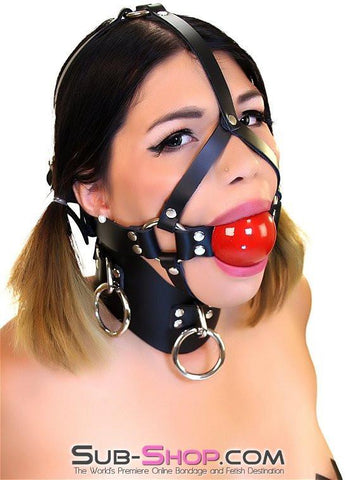 "450A    2"" Leather Ball Gag Trainer, Candy Apple Red Ball - Sub-Shop.comGags - 3"