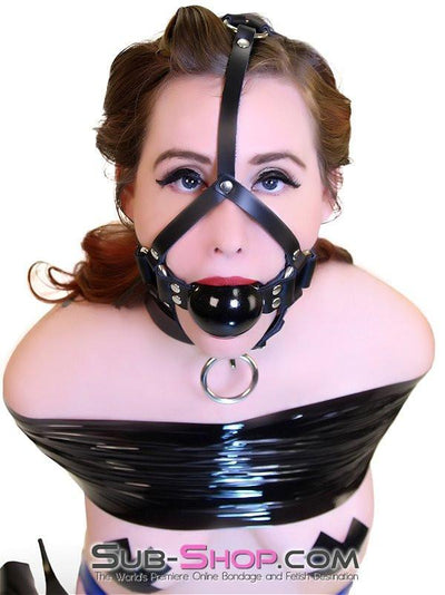 "451A   2"" Leather Ball Gag Trainer, Black Gloss Ball - Sale BDSM, Bondage Gear, Adult Toys, Bondage Sex, Orgasm Belt, Male Chastity, Gags. Bondage Slave Collars, Wrist Cuffs, Submissive, Dominant, Master, Mistress, Crossdresser, Sub-Shop Bondage and Fetish Superstore"