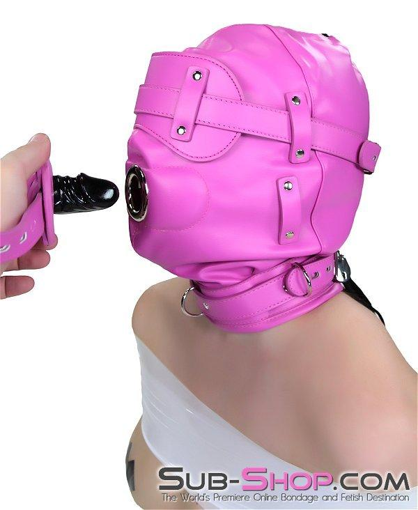 4730RS      Hot Fantasy Hot Pink Full Locking Hood with Removable Blindfold & Penis Gag - Sale BDSM, Bondage Gear, Adult Toys, Bondage Sex, Orgasm Belt, Male Chastity, Gags. Bondage Slave Collars, Wrist Cuffs, Submissive, Dominant, Master, Mistress, Crossdresser, Sub-Shop Bondage and Fetish Superstore