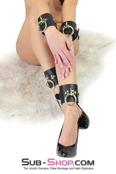 4770A      Gold Standard Deluxe Black Leather Bondage Wrist Cuffs - Sale BDSM, Bondage Gear, Adult Toys, Bondage Sex, Orgasm Belt, Male Chastity, Gags. Bondage Slave Collars, Wrist Cuffs, Submissive, Dominant, Master, Mistress, Crossdresser, Sub-Shop Bondage and Fetish Superstore