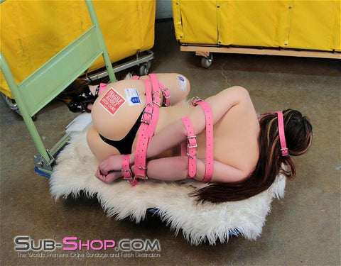 4781A      Hot Pink Leather Buckling Bondage Straps - <b>5 Sizes!</b> - Sub-Shop Bondage and Fetish Superstore
