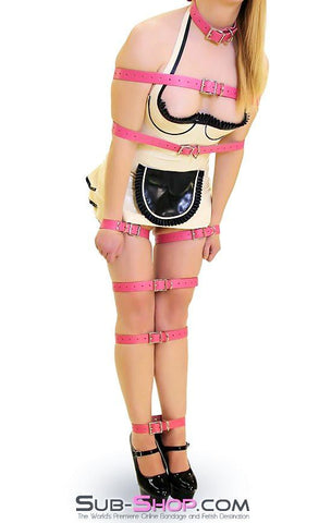 4781A      Hot Pink Leather Buckling Bondage Straps - <b>5 Sizes!</b> - Sale BDSM, Bondage Gear, Adult Toys, Bondage Sex, Orgasm Belt, Male Chastity, Gags. Bondage Slave Collars, Wrist Cuffs, Submissive, Dominant, Master, Mistress, Crossdresser, Sub-Shop Bondage and Fetish Superstore