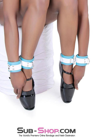 Gentle Persuasion Diamond Blue & White Leather Wrist Cuffs - Sale BDSM, Bondage Gear, Adult Toys, Bondage Sex, Orgasm Belt, Male Chastity, Gags. Bondage Slave Collars, Wrist Cuffs, Submissive, Dominant, Master, Mistress, Crossdresser, Sub-Shop Bondage and Fetish Superstore