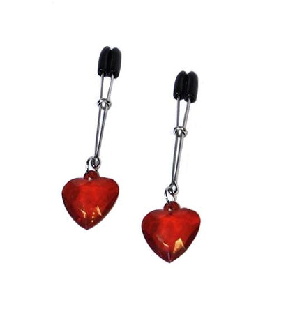 511HS      I Heart Nipple Clamps Tweezer Style Heart Charm Nipple Clamps - Sale BDSM, Bondage Gear, Adult Toys, Bondage Sex, Orgasm Belt, Male Chastity, Gags. Bondage Slave Collars, Wrist Cuffs, Submissive, Dominant, Master, Mistress, Crossdresser, Sub-Shop Bondage and Fetish Superstore