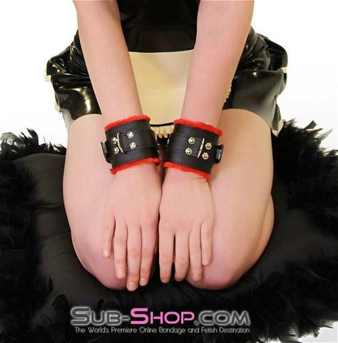 520HS      Furocious Red Fur Lined Locking Wrist Cuffs - Sub-Shop.comCuffs - 2