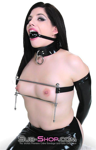 529G      Hard Pressed Chrome Steel Breast Binder Set - Sale BDSM, Bondage Gear, Adult Toys, Bondage Sex, Orgasm Belt, Male Chastity, Gags. Bondage Slave Collars, Wrist Cuffs, Submissive, Dominant, Master, Mistress, Crossdresser, Sub-Shop Bondage and Fetish Superstore