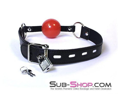 534LT      Easy Does It Small Red Locking Ballgag - Sale BDSM, Bondage Gear, Adult Toys, Bondage Sex, Orgasm Belt, Male Chastity, Gags. Bondage Slave Collars, Wrist Cuffs, Submissive, Dominant, Master, Mistress, Crossdresser, Sub-Shop Bondage and Fetish Superstore