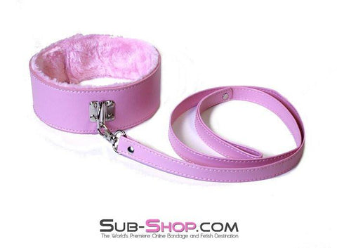 536LT      Pink Furry Bondage Slave Collar & Leash Set - Sub-Shop.comCollar - 3