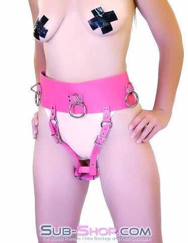 560A      Ladies First Hot Pink Leather Bondage Orgasm Belt with Butt Plug Keeper - Sub-Shop.comBelt - 1
