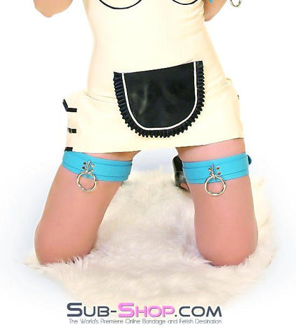 5704A      Tiffany Blue Leather Bondage Thigh Cuffs - Sub-Shop.comWaist and Thigh Cuffs - 4