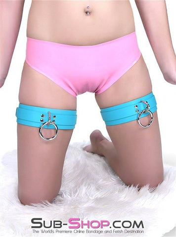 5704A     Diamond Blue Leather Bondage Thigh Cuffs