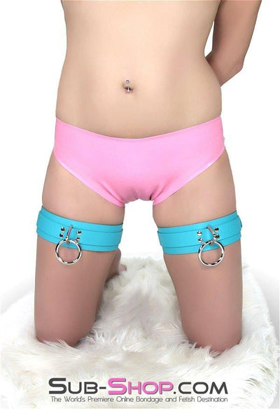 5704A     Diamond Blue Leather Bondage Thigh Cuffs - Sale BDSM, Bondage Gear, Adult Toys, Bondage Sex, Orgasm Belt, Male Chastity, Gags. Bondage Slave Collars, Wrist Cuffs, Submissive, Dominant, Master, Mistress, Crossdresser, Sub-Shop Bondage and Fetish Superstore