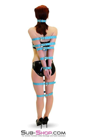 5706A      Locking Bondage Straps, Tiffany Blue Leather - <b>4 Sizes!</b> - Sub-Shop.comStraps - 21