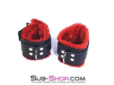 520HS      Furocious Red Fur Lined Locking Wrist Cuffs - Sub-Shop.comCuffs - 9
