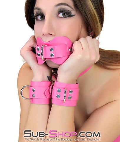 978A     Pretty Quiet Hot Pink Leather Double Mouth Guard Gag