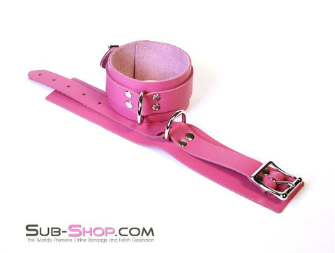 5725A      Slave to Love Hot Pink Bondage Ankle Cuffs - Sale BDSM, Bondage Gear, Adult Toys, Bondage Sex, Orgasm Belt, Male Chastity, Gags. Bondage Slave Collars, Wrist Cuffs, Submissive, Dominant, Master, Mistress, Crossdresser, Sub-Shop Bondage and Fetish Superstore