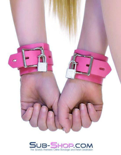 5733A      Kept Woman Locking Hot Pink Leather Bondage Wrist Cuffs - Sale BDSM, Bondage Gear, Adult Toys, Bondage Sex, Orgasm Belt, Male Chastity, Gags. Bondage Slave Collars, Wrist Cuffs, Submissive, Dominant, Master, Mistress, Crossdresser, Sub-Shop Bondage and Fetish Superstore