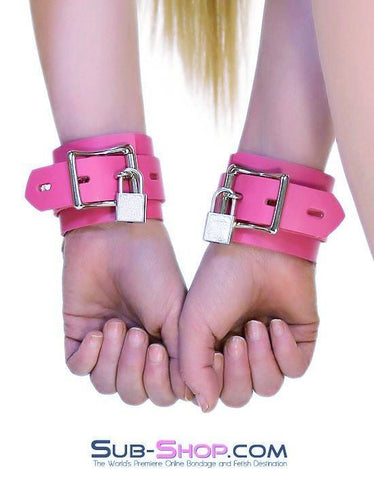 5733A      Kept Woman Locking Hot Pink Leather Bondage Wrist Cuffs - Sub-Shop.comWrist and Ankle Bondage - 5