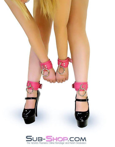 5733A      Kept Woman Locking Hot Pink Leather Bondage Wrist Cuffs - Sub-Shop.comWrist and Ankle Bondage - 7