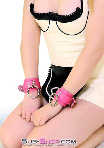 5733A      Kept Woman Locking Hot Pink Leather Bondage Wrist Cuffs - Sub-Shop.comWrist and Ankle Bondage - 6
