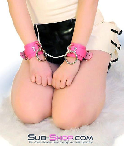 5733A      Kept Woman Locking Hot Pink Leather Bondage Wrist Cuffs - Sub-Shop.comWrist and Ankle Bondage - 11