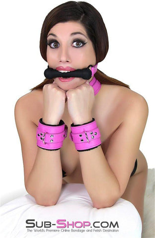 5772RS     Cuddle Up Hot Pink Lined Locking Bondage Wrist Cuffs