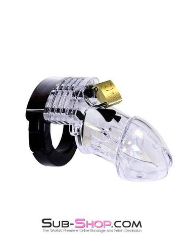 5779AE      Jacked Up Adjustable Clear Polycarbonate Locking Male Cock Cuff Chastity Device - <b>MEGA Deal</b>