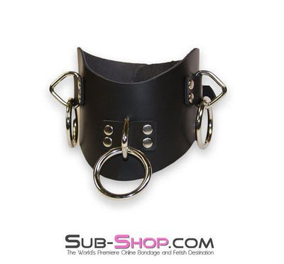 612A       Leather Posture Training 3 Ring Bondage Collar - Sale BDSM, Bondage Gear, Adult Toys, Bondage Sex, Orgasm Belt, Male Chastity, Gags. Bondage Slave Collars, Wrist Cuffs, Submissive, Dominant, Master, Mistress, Crossdresser, Sub-Shop Bondage and Fetish Superstore
