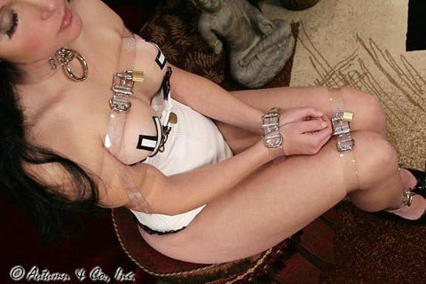 6786A  Clearly Locked Bondage Straps - <b>4 Sizes!</b> - Sale BDSM, Bondage Gear, Adult Toys, Bondage Sex, Orgasm Belt, Male Chastity, Gags. Bondage Slave Collars, Wrist Cuffs, Submissive, Dominant, Master, Mistress, Crossdresser, Sub-Shop Bondage and Fetish Superstore