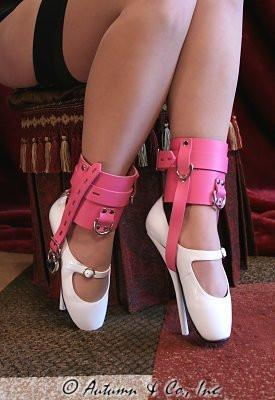 6793A      Enforced Femininity Hot Pink Locking Bondage Shoe Cuffs - Sub-Shop.comCuffs - 12