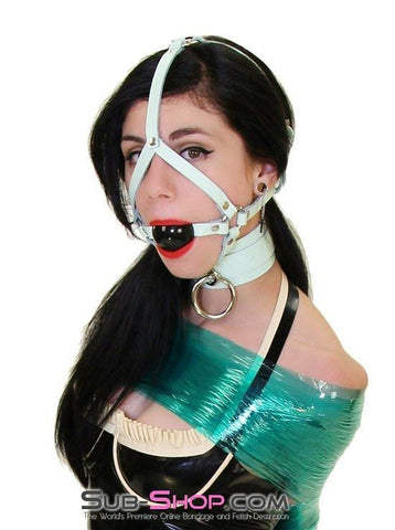 988A     I Like It Rough Retro Mint Green Leather Bondage Collar - Sub-Shop.comCollar - 11