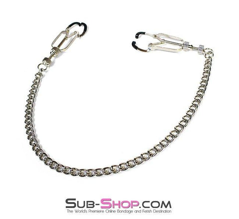 6818MH      Twist & Shout Adjustable Chained Black Nipple Clamps - Sale BDSM, Bondage Gear, Adult Toys, Bondage Sex, Orgasm Belt, Male Chastity, Gags. Bondage Slave Collars, Wrist Cuffs, Submissive, Dominant, Master, Mistress, Crossdresser, Sub-Shop Bondage and Fetish Superstore