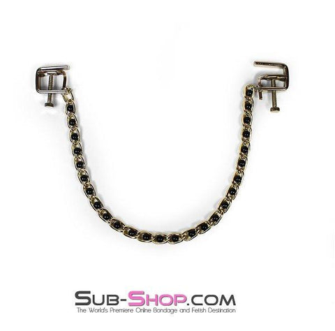 6820MH      Nipple Press Black Beaded Chain Nipple Clamps - Sale BDSM, Bondage Gear, Adult Toys, Bondage Sex, Orgasm Belt, Male Chastity, Gags. Bondage Slave Collars, Wrist Cuffs, Submissive, Dominant, Master, Mistress, Crossdresser, Sub-Shop Bondage and Fetish Superstore