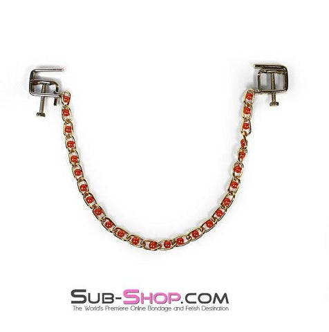 6821MH      Nipple Press Pink Beaded Chain Nipple Clamps - Sub-Shop.comNipple Clamp - 5