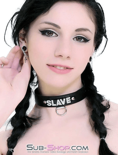 SLAVE Rhinestone Collar, Black Leather - Sale BDSM, Bondage Gear, Adult Toys, Bondage Sex, Orgasm Belt, Male Chastity, Bondage Gag. Bondage Slave Collars, Wrist Cuffs, Submissive, Dominant, Master, Mistress, Cross Dressing, Sex Toys, Bondage Sale, Bondage Clearance, MEGA Deal Bondage, Sub-Shop Bondage and Fetish Superstore