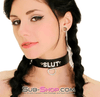 SLUT Rhinestone Collar, Black Leather - Sale BDSM, Bondage Gear, Adult Toys, Bondage Sex, Orgasm Belt, Male Chastity, Bondage Gag. Bondage Slave Collars, Wrist Cuffs, Submissive, Dominant, Master, Mistress, Cross Dressing, Sex Toys, Bondage Sale, Bondage Clearance, MEGA Deal Bondage, Sub-Shop Bondage and Fetish Superstore