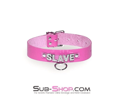 Hot Pink SLAVE Rhinestone Leather Collar - Sale BDSM, Bondage Gear, Adult Toys, Bondage Sex, Orgasm Belt, Male Chastity, Bondage Gag. Bondage Slave Collars, Wrist Cuffs, Submissive, Dominant, Master, Mistress, Cross Dressing, Sex Toys, Bondage Sale, Bondage Clearance, MEGA Deal Bondage, Sub-Shop Bondage and Fetish Superstore