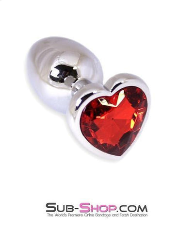 6912R      Puppy Love Mini Steel Heart Shaped Ruby Crystal Anal Plug - Sale BDSM, Bondage Gear, Adult Toys, Bondage Sex, Orgasm Belt, Male Chastity, Gags. Bondage Slave Collars, Wrist Cuffs, Submissive, Dominant, Master, Mistress, Crossdresser, Sub-Shop Bondage and Fetish Superstore