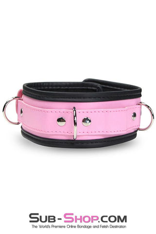 6921MH      Comfy in Pink Padded and Lined Locking Collar - Sale BDSM, Bondage Gear, Adult Toys, Bondage Sex, Orgasm Belt, Male Chastity, Gags. Bondage Slave Collars, Wrist Cuffs, Submissive, Dominant, Master, Mistress, Crossdresser, Sub-Shop Bondage and Fetish Superstore