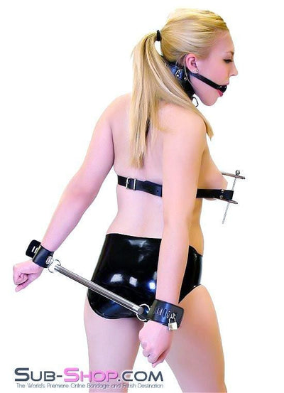 6986HS      Spreader Bar with Attached Locking Wrist Cuffs - Sale BDSM, Bondage Gear, Adult Toys, Bondage Sex, Orgasm Belt, Male Chastity, Gags. Bondage Slave Collars, Wrist Cuffs, Submissive, Dominant, Master, Mistress, Crossdresser, Sub-Shop Bondage and Fetish Superstore