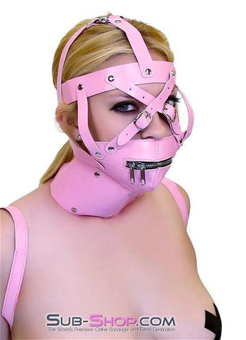 6993HS      Pink Posture Collar and Zippered Muzzle Trainer Set - Sub-Shop.comGags - 2