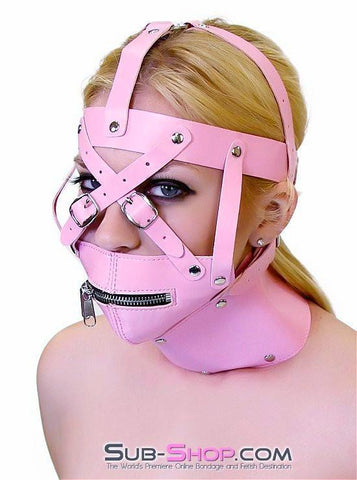 6993HS      Pink Posture Collar and Zippered Muzzle Trainer Set - Sub-Shop.comGags - 1
