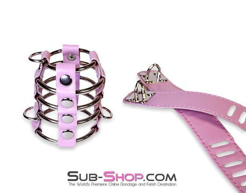 6998HS      Feminizing Pink Cock Cage with Ball Spreader Set - Sale BDSM, Bondage Gear, Adult Toys, Bondage Sex, Orgasm Belt, Male Chastity, Gags. Bondage Slave Collars, Wrist Cuffs, Submissive, Dominant, Master, Mistress, Crossdresser, Sub-Shop Bondage and Fetish Superstore