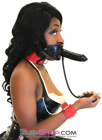 7012D      Give and Take Inflatable Latex Penis Gag with External Dildo - Sub-Shop.comGags - 6