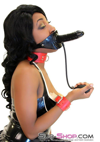7012D      Give and Take Inflatable Latex Penis Gag with External Dildo - Sub-Shop.comGags - 1